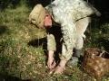 Отец срезает белый гриб